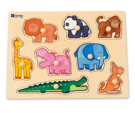 Joc tip puzzle 8 piese Hello Animals