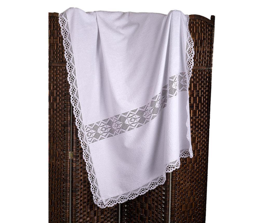 Kopalniška brisača Lacy White 100x150 cm