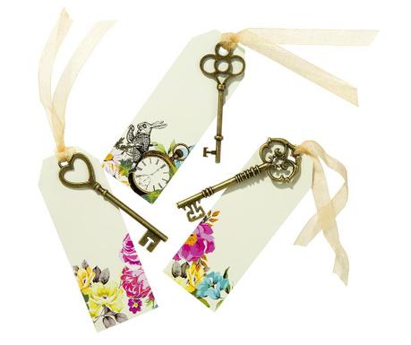 Zestaw 6 kluczy dekoracyjnych z etykietkami Truly Alice Whimsical
