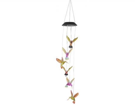 Lampa solarna z dzwonkami wietrznymi Hummingbirds