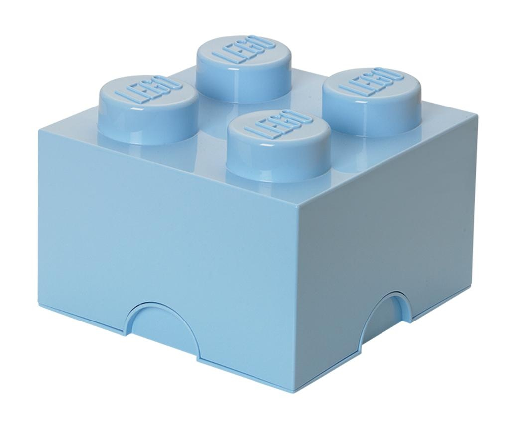 Lego Square Four Pale Blue Doboz fedővel