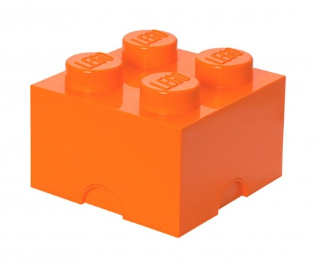 Pudełko z pokrywką Lego Square Four Orange