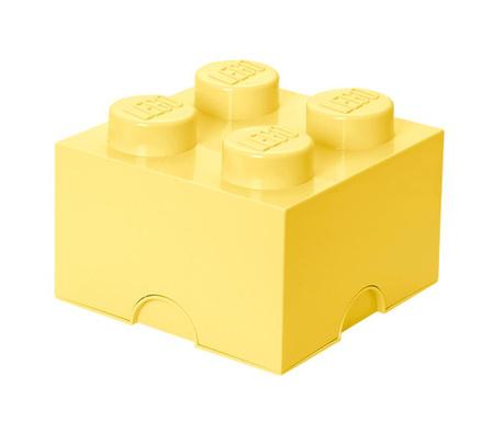 Kutija za pohranu s poklopcem Lego Square Four light Yellow