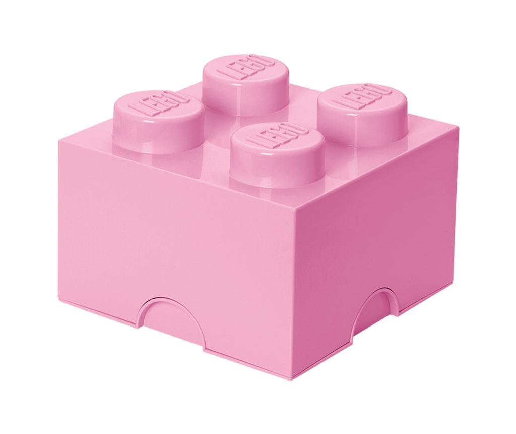 Škatla s pokrovom Lego Square Four Light Pink