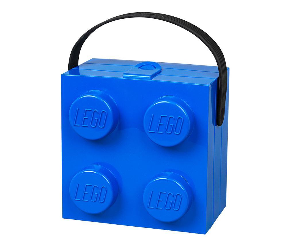 Lego Handle Blue Uzsonnás doboz