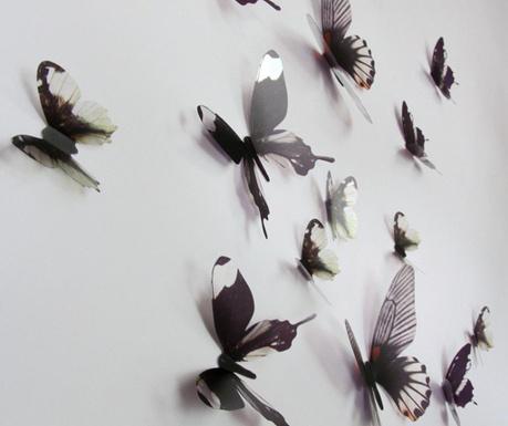 Zestaw 18 naklejek  3D Black Butterfly
