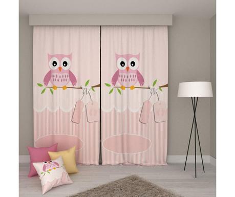 Sada 2 závěsů Pink Owl 140x250 cm