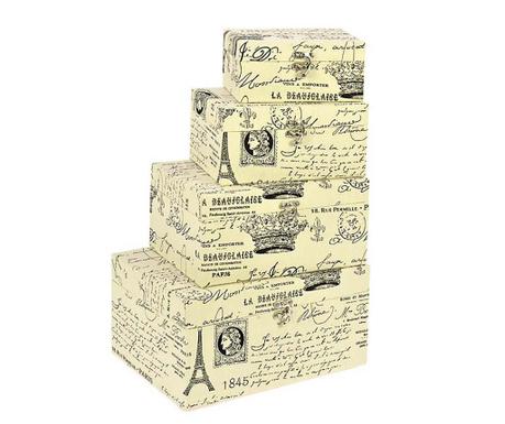 Set 4 cutii cu capac Eiffel Tower