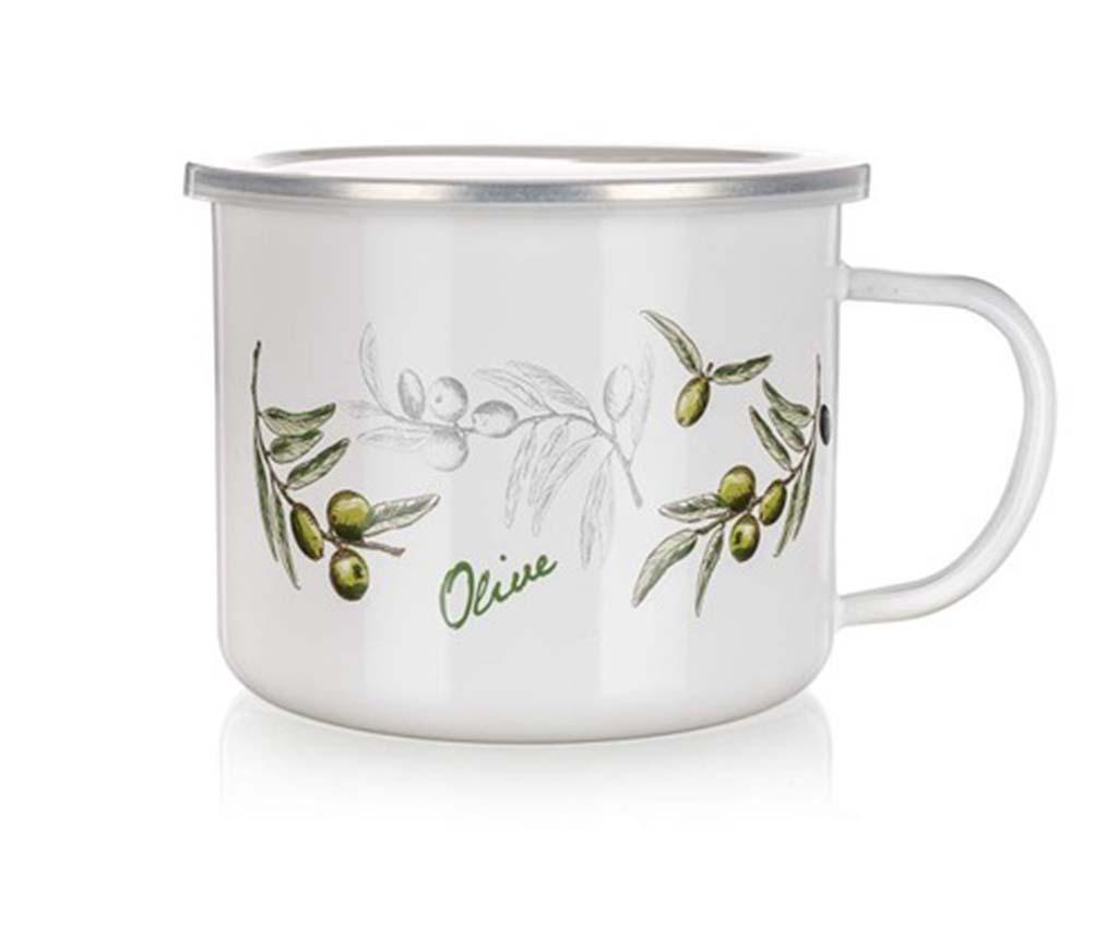 Cana mic dejun cu capac Olive Branch 900 ml