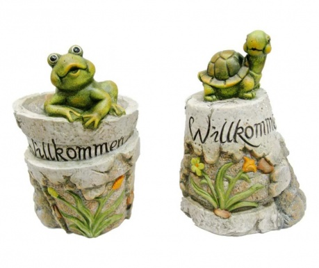 Set 2 vrtnih dekoracij Frog Welcoming
