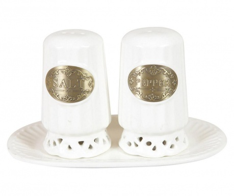Set of salt and pepper shaker with holder Austin