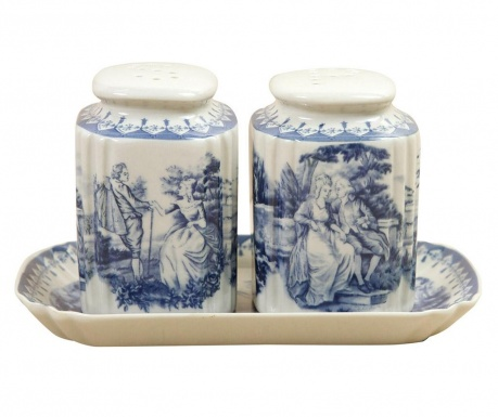 Set of salt and pepper shaker with holder Palace Blue