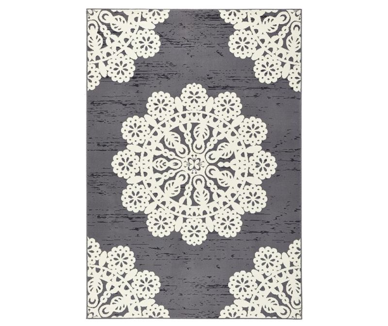 Covor Lace Grey and Cream 80x150 cm