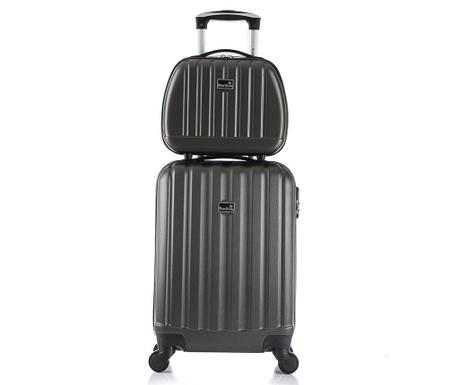 5b604820c398d Sada cestovný kufor a taška na kozmetiku Prague Dark Grey - Vivrehome.sk