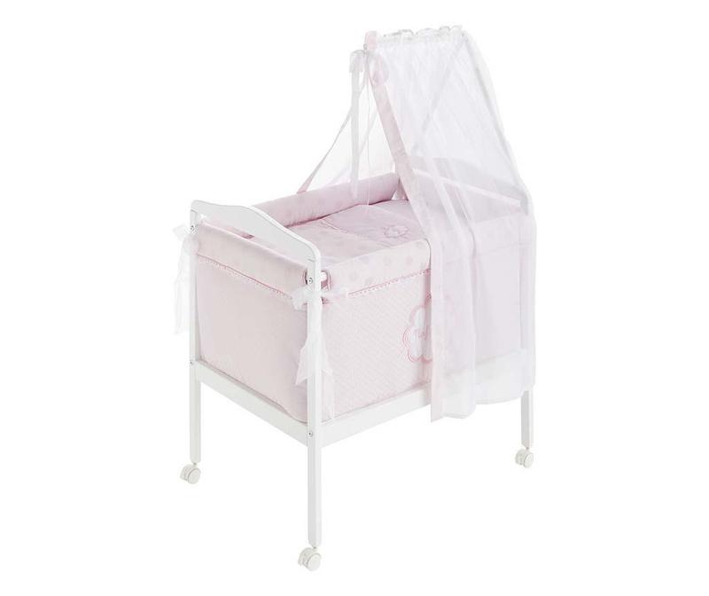 Set - otroška psteljica z baldahinom in dodatki Tres Chic Pink