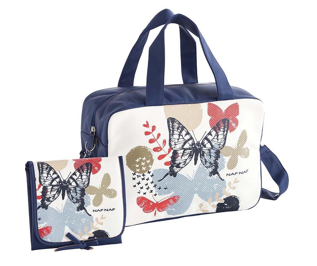 Set geanta si saltea pliabila pentru schimbat scutece Butterfly Blue