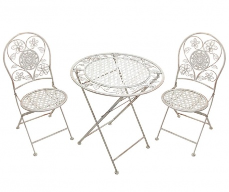 Sada stůl a 2 židle do exteriéru Ancient Flowers
