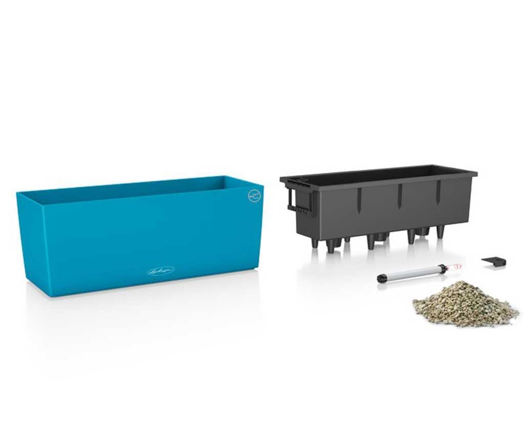 Cvetlično korito s samo-namakalnim sistemom in držalom Balconera Soft Blue