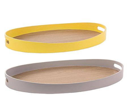 Set 2 tavi pentru servire Modern Taupe Yellow