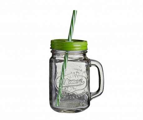 Mug with cover and straw Sour Kiwi 450 ml