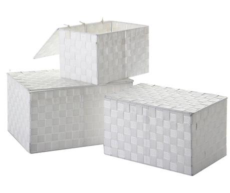 Zestaw 3 pudełek z pokrywką Miriam Glow White