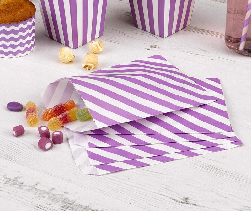 Set 24 omotnice za konfete Stripes Purple