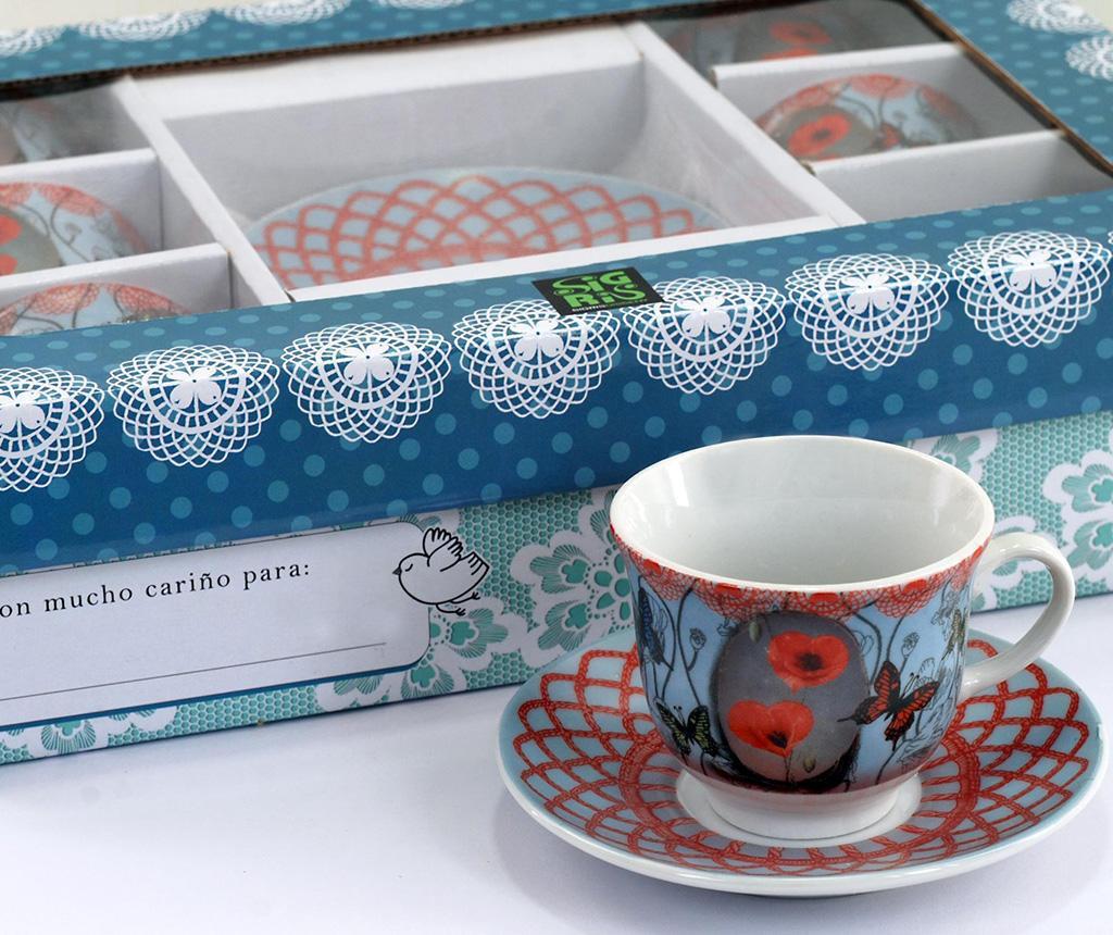 Set 6 skodelic in 6 krožničkov Poppies