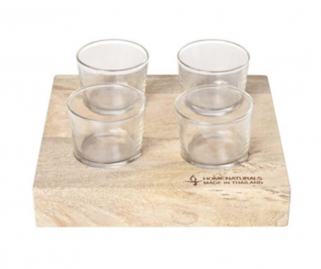 Комплект 4 чаши за шот и поставка Hert