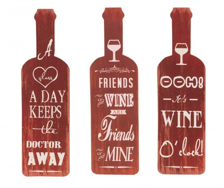 Set of 3 wall decorations A Glass a Day
