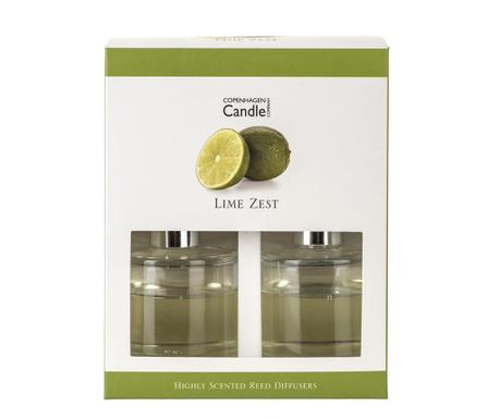 Σετ 2 αρωματικά χώρου με αιθέρια έλαια και ξυλάκια Lime Zest 40 ml