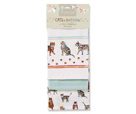 Set 3 prosoape de bucatarie Cats on Parade 45x65 cm
