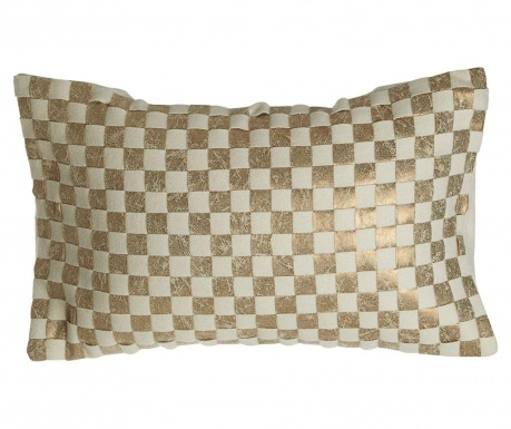 Poduszka dekoracyjna Ken Check Gold 34x60 cm