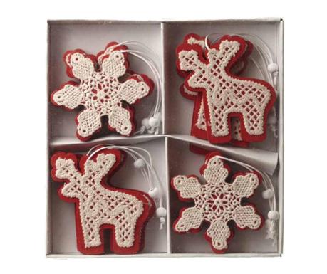 Set 12 decoratiuni suspendabile Reindeer & Snowflake