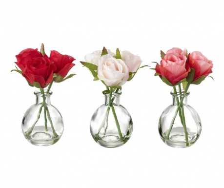 Set of 3 vases with artificial flowers bouquet Roses Bouquet