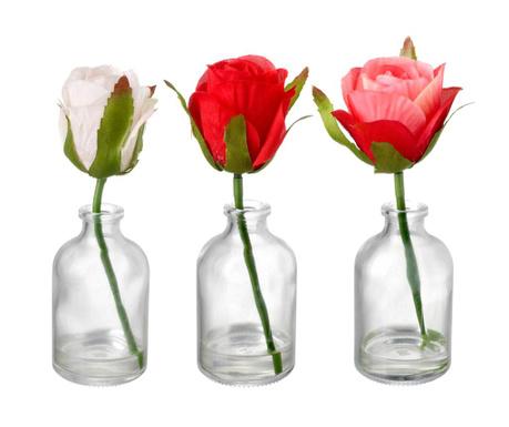 Sada 3 váz s umělými květinami Delicate Roses