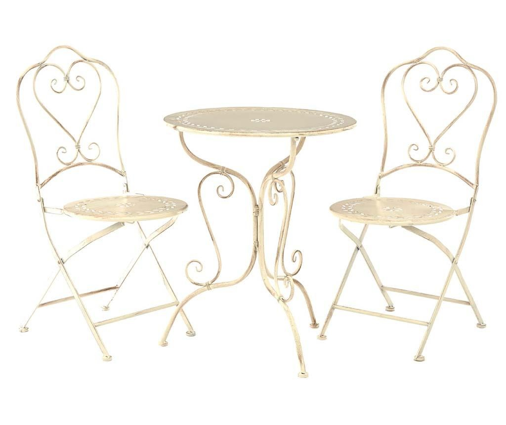 Set stol i 2 sklopive stolice za vanjski prostor Finchwood Cream