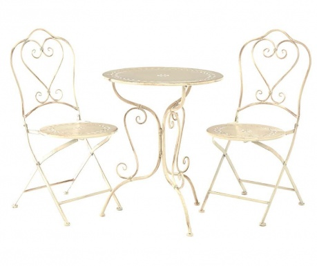 Zestaw stół i 2 składane krzesła zewnętrzne Finchwood Cream