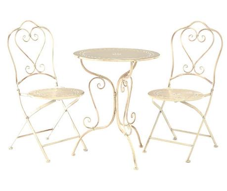 Sada stôl a 2 stoličky do exteriéru Finchwood Cream