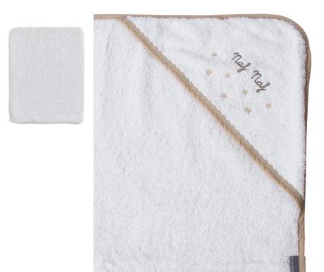 Zestaw ręcznik kąpielowy z kapturem i rękawica Stars