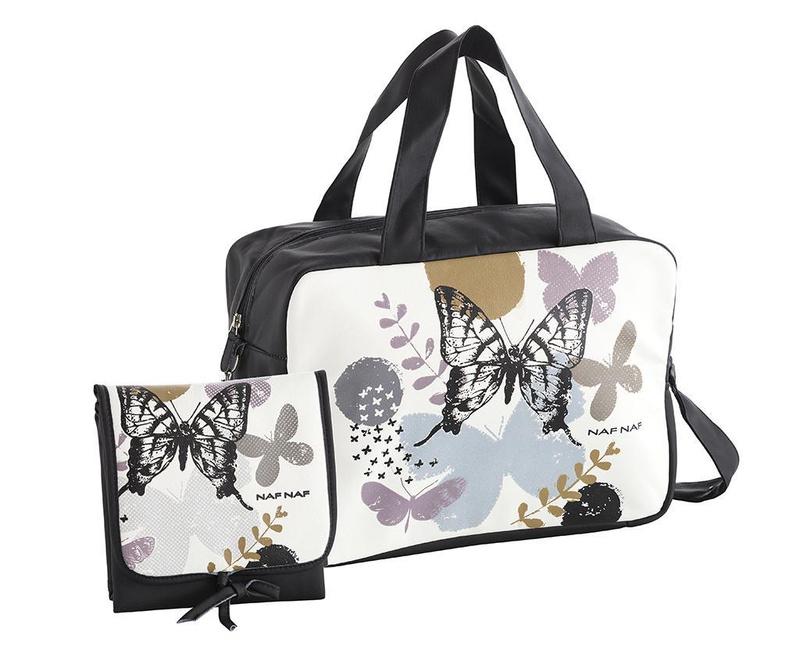 Set geanta si saltea pliabila pentru schimbat scutece Butterfly Black