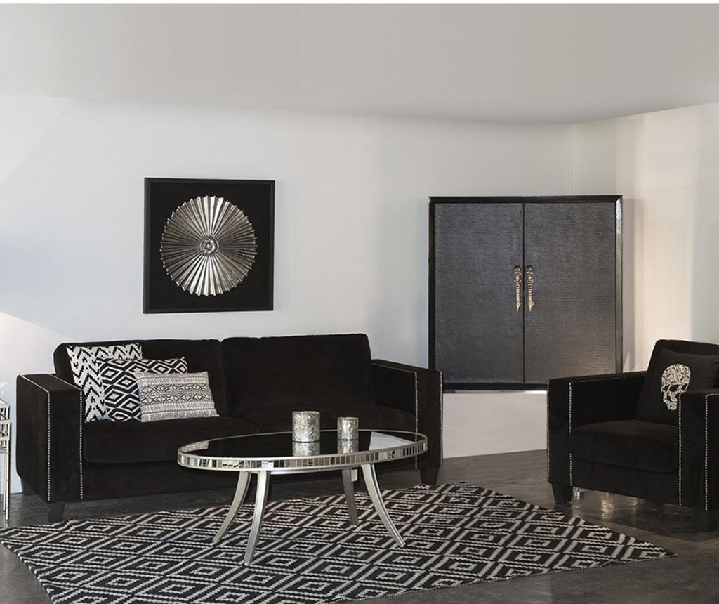 Smooth Black Háromszemélyes kanapé