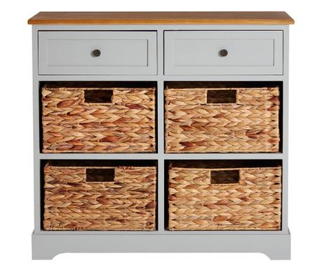 Шкафче с 4 коша и 2 чекмеджета Vermont Hyacinth Wide Gray