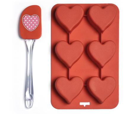 Zestaw szpatułka i forma do pieczenia 6 babeczek Heart