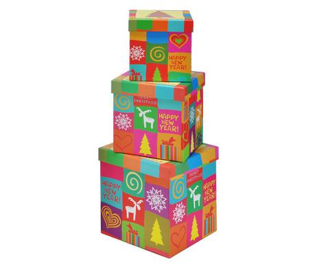 Set 3 cutii cu capac pentru depozitare Colors and Reindeer