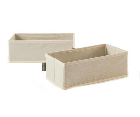Sada 2 skladovacie krabice Ecru Style Wide M