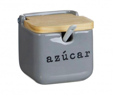Zaharnita cu capac si lingurita Azucar Grey