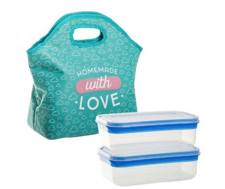 Set geanta izoterma pentru pranz si 2 caserole With Love Clouds