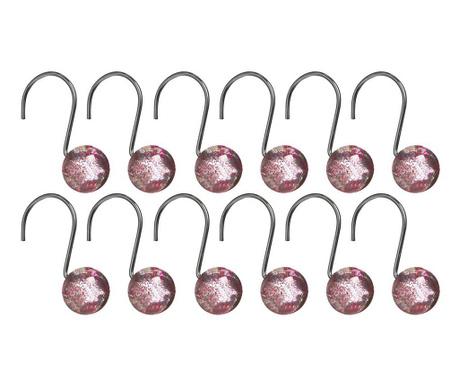 Set 12 agatatori pentru perdeaua de dus Glitter Pink