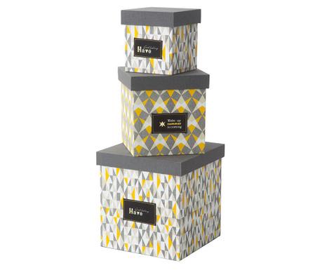 Sada 3 úložných krabic s víkem Mexico Tris