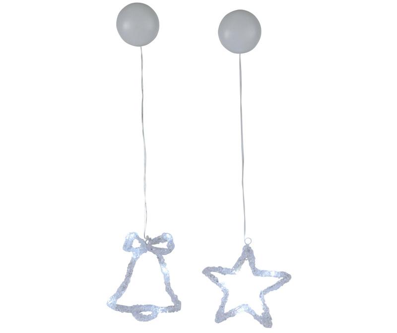 Set 2 viseća svjetleća ukrasa Star and Bell
